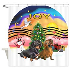 XMusic2-Two Dachshunds Shower Curtain