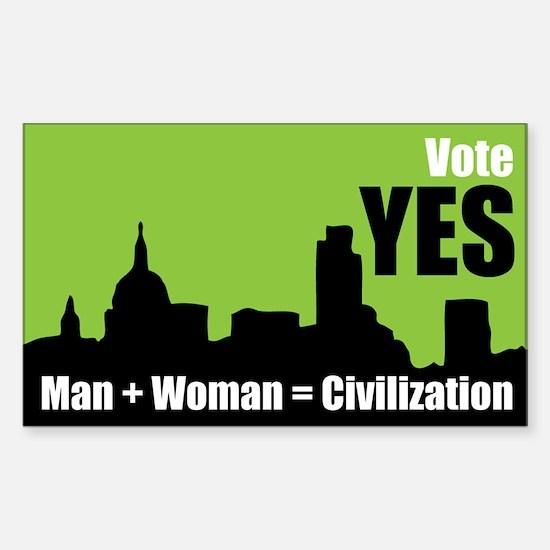 Man + Woman = Civilization - Sticker (3 x 5 in.)