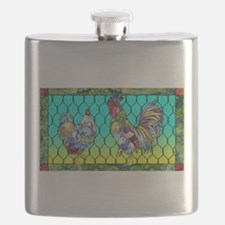Rooster & Hen Flask