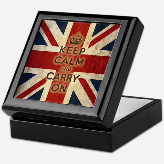 Vintage Keep Calm And Carry On Keepsake Box
