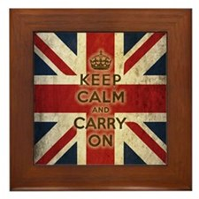 Vintage Keep Calm And Carry On Framed Tile