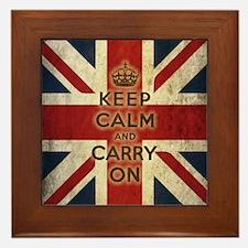 Vintage Keep Calm And Carry On Framed Tile