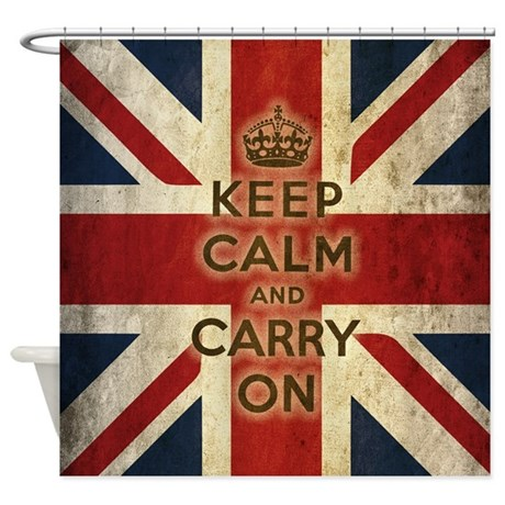 Vintage Keep Calm And Carry On Shower Curtain