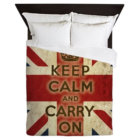 Vintage Keep Calm And Carry On Queen Duvet