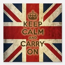 Vintage Keep Calm And Carry On Square Car Magnet 3