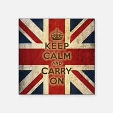 "Vintage Keep Calm And Carry On Square Sticker 3"" x"