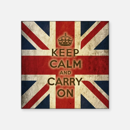 """Vintage Keep Calm And Carry On Square Sticker 3"""" x"""