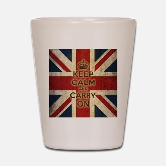 Vintage Keep Calm And Carry On Shot Glass