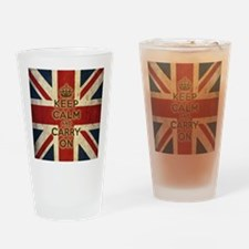 Vintage Keep Calm And Carry On Drinking Glass