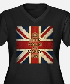 Vintage Keep Calm And Carry On Women's Plus Size V