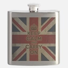 Vintage Keep Calm And Carry On Flask