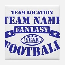 PERSONALIZED FANTASY FOOTBALL NAVY Tile Coaster
