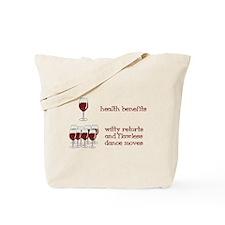 One Glass Wine Health Benefits Tote Bag