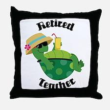 Retired Teacher Turtle Throw Pillow