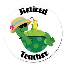 Retired Teacher Turtle Round Car Magnet