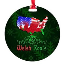 Welsh American Roots Christmas Round Ornament