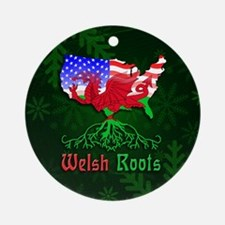 Welsh American Roots Christmas Ornament (Round)