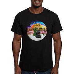 XMusic2-Black Cocker Men's Fitted T-Shirt (dark)