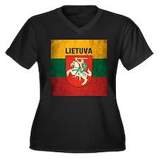 Vintage Lithuania Women's Plus Size V-Neck Dark T-