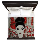Oriental red Luxe King Duvet Cover