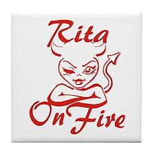 Rita On Fire Tile Coaster