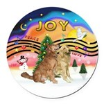 XMusic2-Two Goldens Round Car Magnet