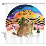 XMusic2-Two Goldens Shower Curtain