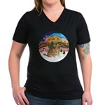 XMusic2-Two Goldens Women's V-Neck Dark T-Shirt