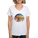 XMusic2-Two Goldens Women's V-Neck T-Shirt