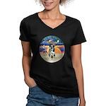 XAngel-Catahoula Leop. Women's V-Neck Dark T-Shirt