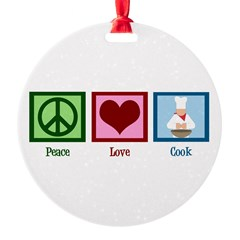 Peace Love Cook Round Ornament