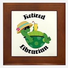 Retired Librarian turtle Framed Tile