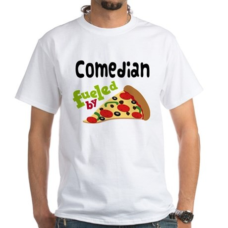 Comedian Funny Pizza White T-Shirt