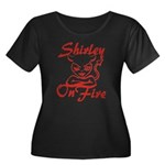 Shirley On Fire Women's Plus Size Scoop Neck Dark