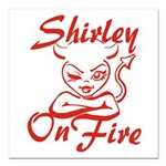 Shirley On Fire Square Car Magnet 3