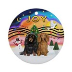 XMusic2-Two Long H. Dachshunds Ornament (Round)