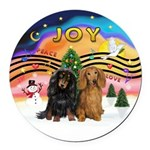 XMusic2-Two Long H. Dachshunds Round Car Magnet