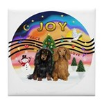 XMusic2-Two Long H. Dachshunds Tile Coaster