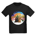 XMusic2-Two Long H. Dachshunds Kids Dark T-Shirt
