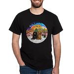 XMusic2-Two Long H. Dachshunds Dark T-Shirt