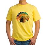 XMusic2-Two Long H. Dachshunds Yellow T-Shirt