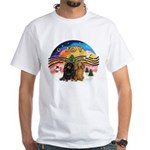 XMusic2-Two Long H. Dachshunds White T-Shirt