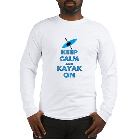 KEEP CALM AND KAYAK BLUE.PNG Long Sleeve T-Shirt