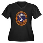 USS GEORGE W Women's Plus Size V-Neck Dark T-Shirt