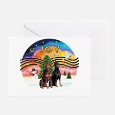 XMusic2-Two Dobermans Greeting Card