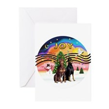 XMusic2-Two Dobermans Greeting Cards (Pk of 20)