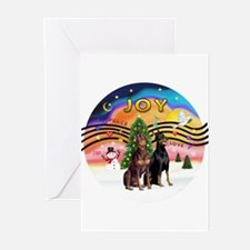 XMusic2-Two Dobermans Greeting Cards (Pk of 10)