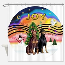 XMusic2-Two Dobermans Shower Curtain
