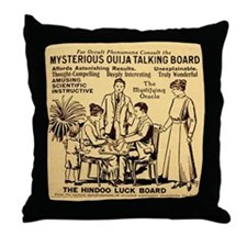 Vintage ouija talking board Ad Throw Pillow