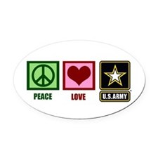 Peace Love Army Oval Car Magnet